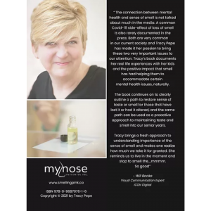 Back cover of ebook WHY the NOSE? with photo of Tracy Pepe and photo of essential oil bottle. White text on black background.